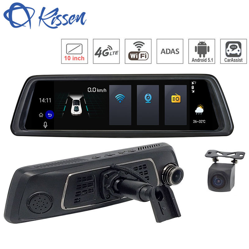 Kissen 10 4g Wifi Android 5.1 Voiture DVR Dash Cam Rétroviseur Dash Caméra Double Objectif ADAS GPS navigation Bluetooth Enregistreur