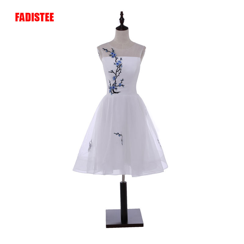 2017 new arrive party   prom     dress   Vestido de Festa elegant short   dress   appliques   prom   party O-neck simple style