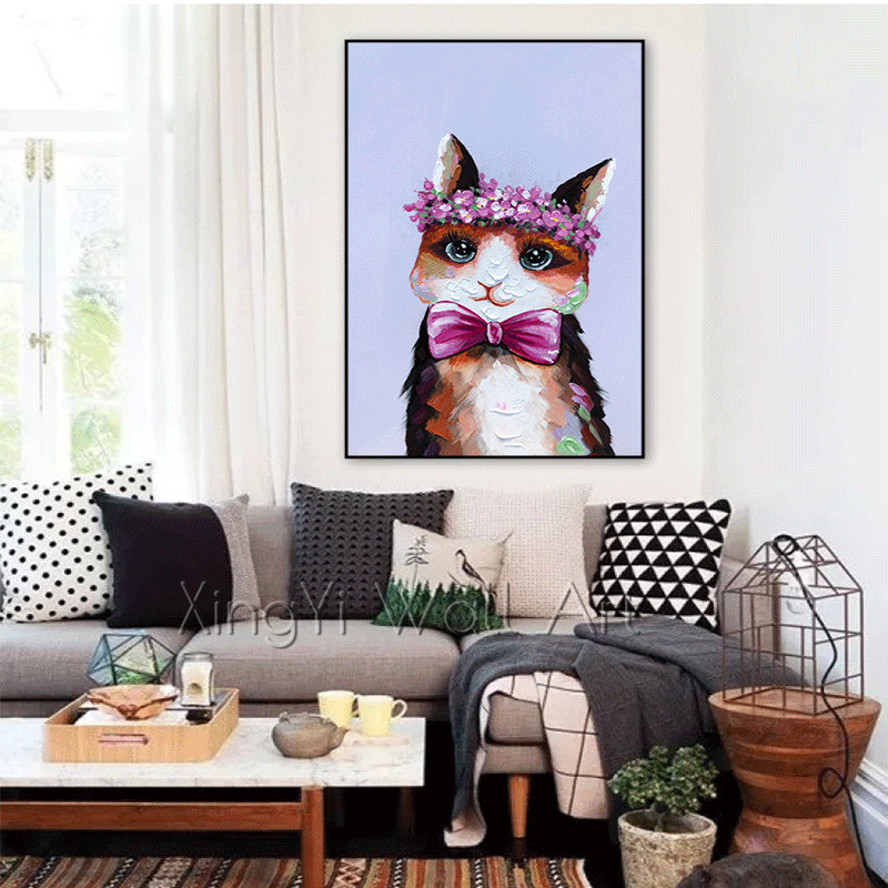 Pop art Animal canvas painting wall art picture for living room home wall decor acrylic thick texture Abstract cats quadro decor
