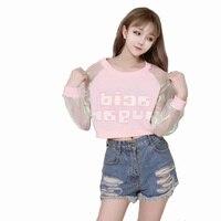 Spring Autumn Barbie Pink Letter Print Hologram Cleaar Long Sleeve Hoodies Young Girl Punk Rock