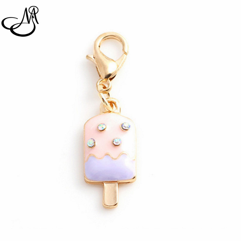 20Pcs/lot Rhinestone Enamel Ice Cream Floating Dangle Charms With Lobster Clasp For Floating Glass Memory Locket FA138