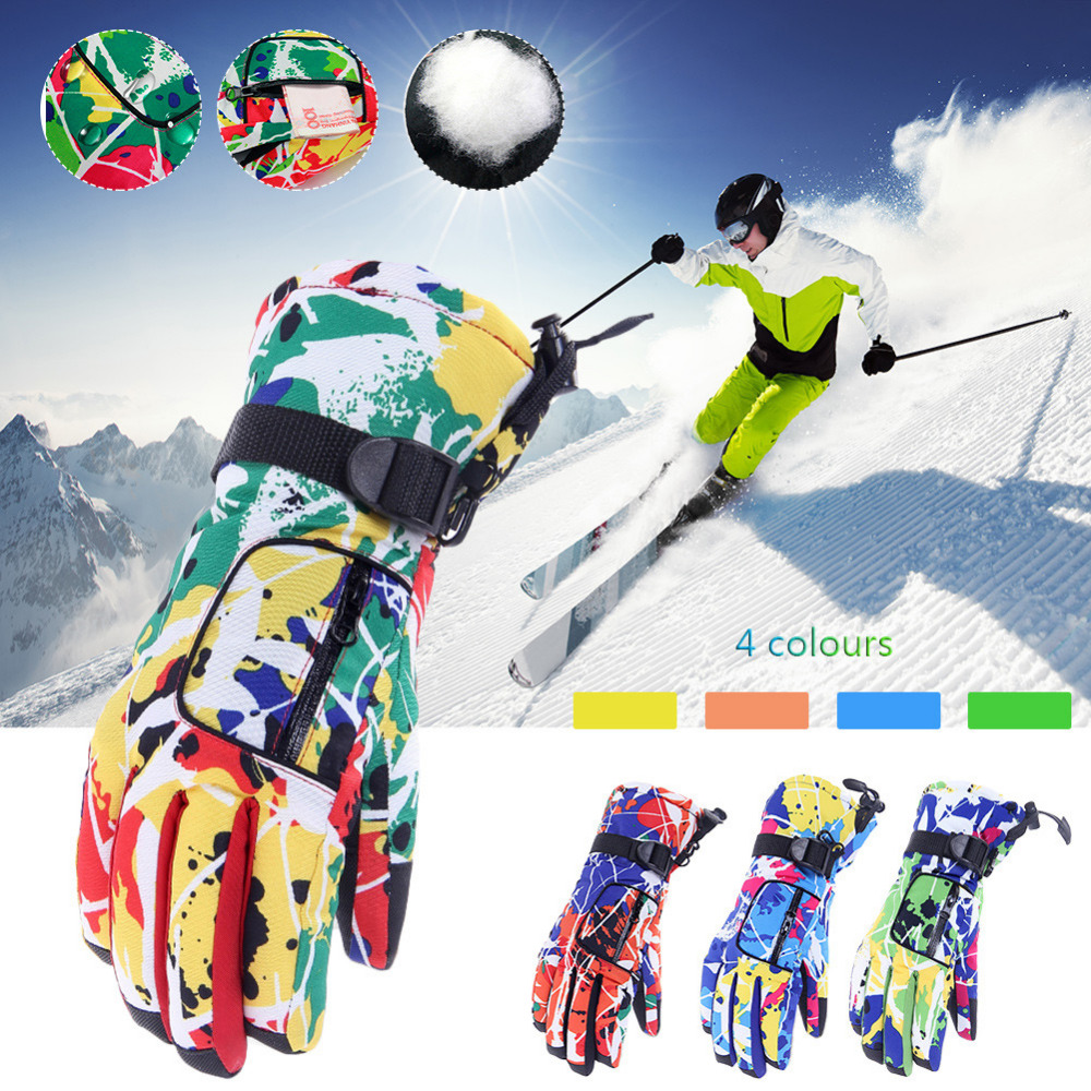 Winter Thicker Ski Gloves Snowboard Gloves Motorcycle Riding Skiing Gloves Windproof Waterproof Unisex Snow Gloves Non-Slip