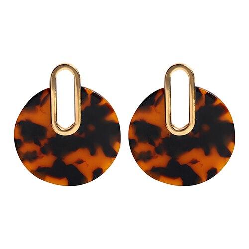 Женские леопардовые фигурные серьги ZA, висячие серьги черепаховой расцветки из акрилацетата, украшения для вечеринок - Окраска металла: 10561