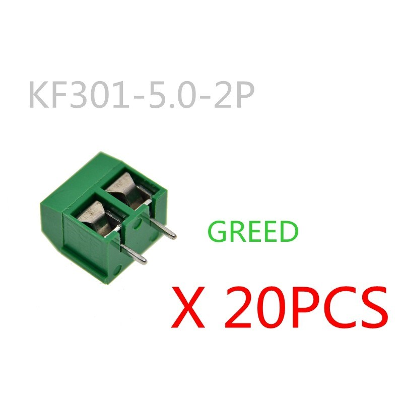 20PCS/LOT KF301-2P KF301-5.0-2P KF301 Screw 2Pin 5.0mm Straight Pin PCB Screw Block green