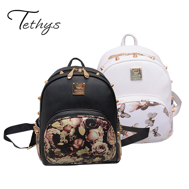 2017 Tethys Women Backpack Small Flower Printing Schoolbag For Teenage Girl Black Rivet Female Backpack White Sac a Dos Femme(China (Mainland))