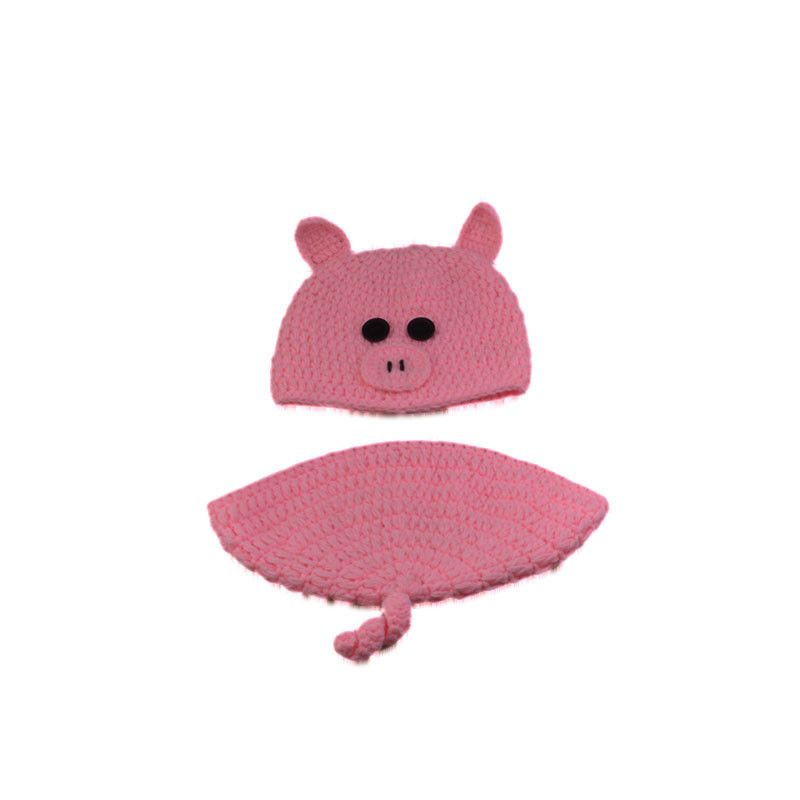 Rosa bebé lana ropa personaje de dibujos animados cerdo tejer apoyos ...