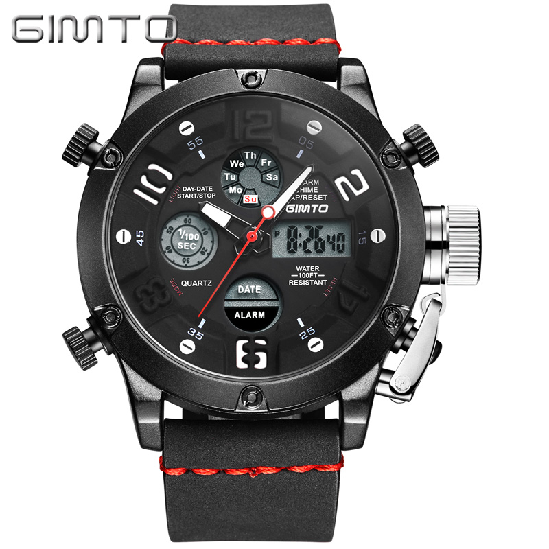 GIMTO Brand Digital Men Sport Watch Shock Male Clock Cool Army Diving Watches Waterproof Leather Military