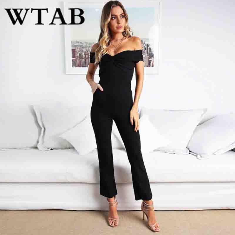 WTAB 2018 sexy off shoulder women   jumpsuit   solid sleeveless skinny casual pocket summer bodysuit women backless strapless robe
