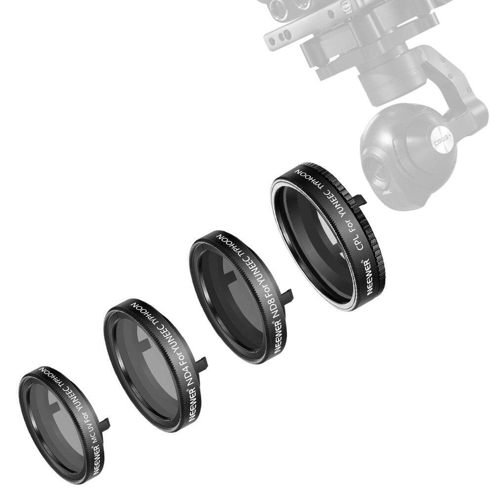Kit de filtre Neewer 4 pièces pour caméra yunece Typhoon Q500 4 K CGO3, caméra Typhoon H, comprend: filtre ND4, ND8, UV et CPL