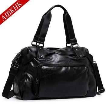 2017 New Arrival Split Leather Men Travel Bags Large Capacity Portable Male Shoulder Bags Men's Handbags Vintage Travel Package