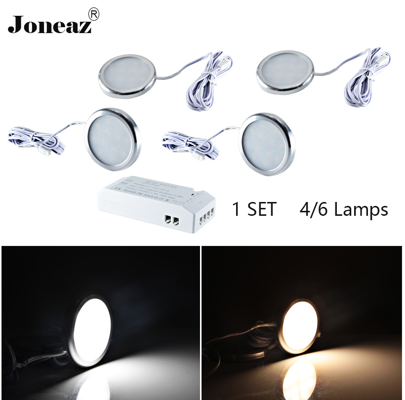Led cabinet light for kitchen closet wardrobe DC12V round SAA UK EU US plug lamp 2 meter cable 2W 1 set super Joneaz