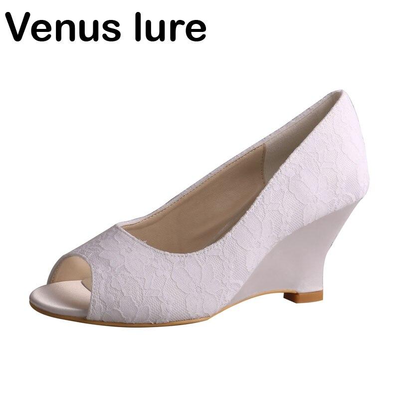 new styles 236a0 e99ed white Del Toe Da Scarpe Per Cerimonia Sposa La Ivory Lure ...