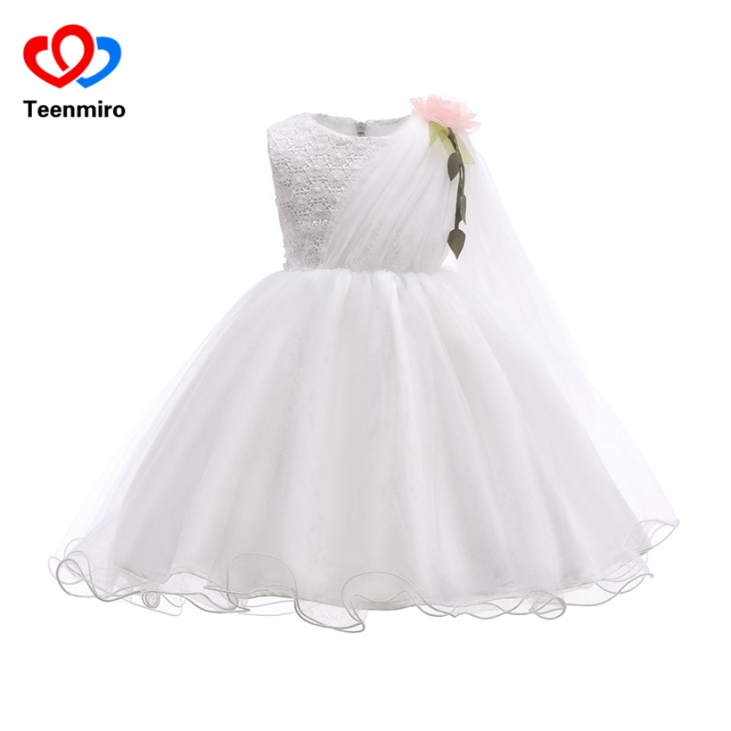 Elegant White Fancy Dress for Girl Flower Pageant Formal Party Dress Wedding Princess Costumes Baby Frocks Robe Fille Lace Tutu