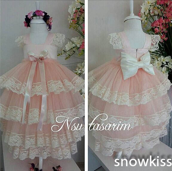 2016 Elegant Tiered Lace flower girl dresses with Bow Short Sleeves baby Birthday Party Dress wedding occasion ball gowns fever short gloves with bow красные короткие перчатки