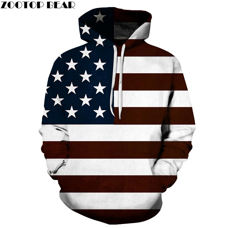 Stripe Men Hoodies Pullover USA flag 3D Printed Brand Sweatshirts Qaulity Tracksuits Coats Unisex Fashion Streetwear ZOOTOP BEAR