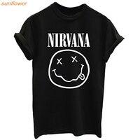 New NIRVANA T Shirt WOMEN Short Sleeve T Shirt Summer Style Fashion T Shirt Print Short