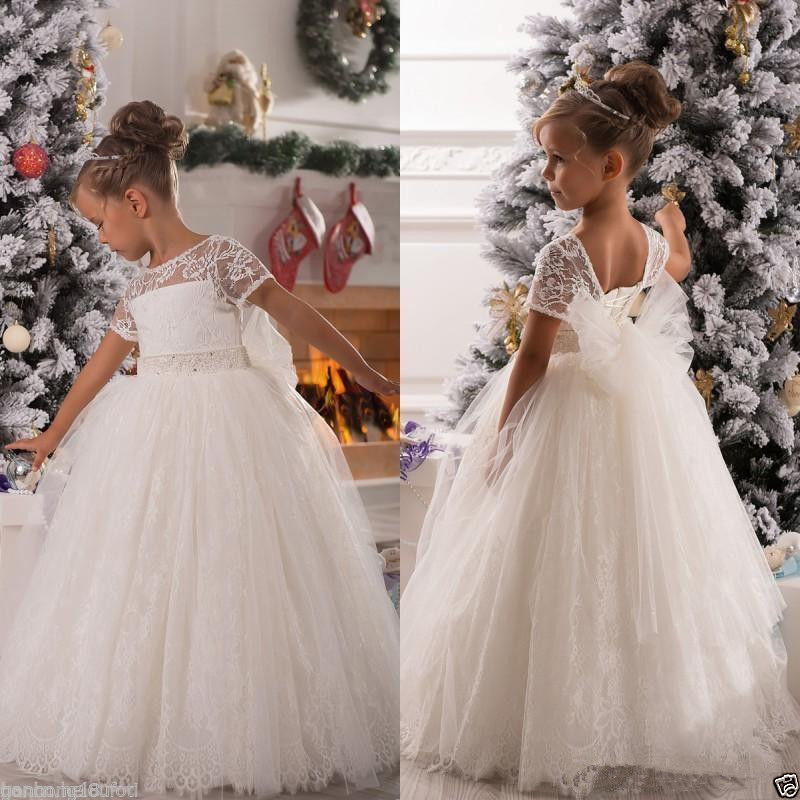 2016 New Floor Length Lace Flower Girl Dresses Gowns Kids