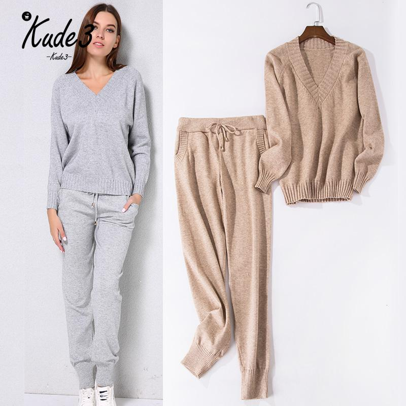 Women Sweater Suit Casual Knitted Sweaters Pants 2pcs Track Suits Woman Casual Knitted Trousers+jumper Tops Clothing Set 8446