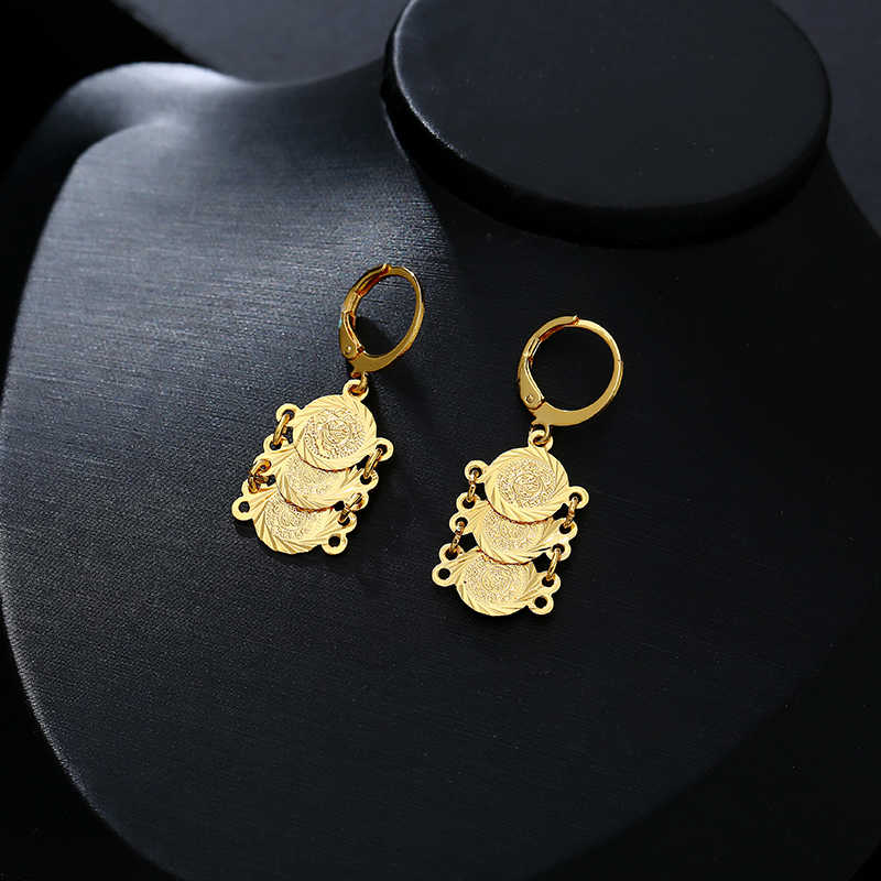 חדש קלאסי ערבי מטבע תכשיטי סטי זהב צבע שרשרת & צמיד עגילי טבעת אמצע מזרח לנשים מטבע Bijoux