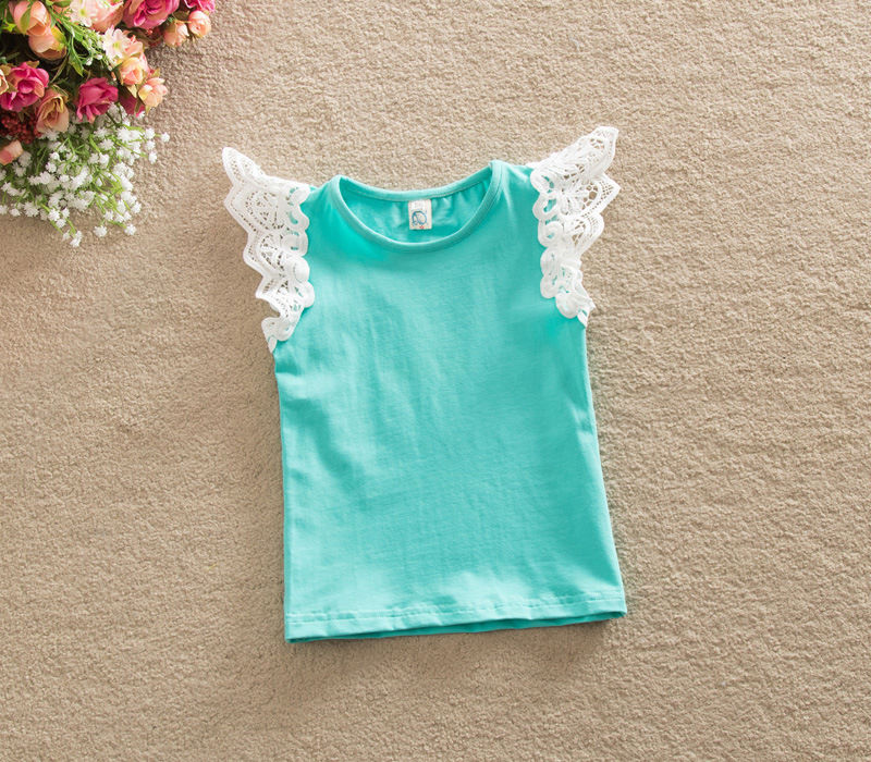 Infant Baby Girls Lace Ruffle Sleeve T-shirt Top Tee Kid Summer Cotton Clothes