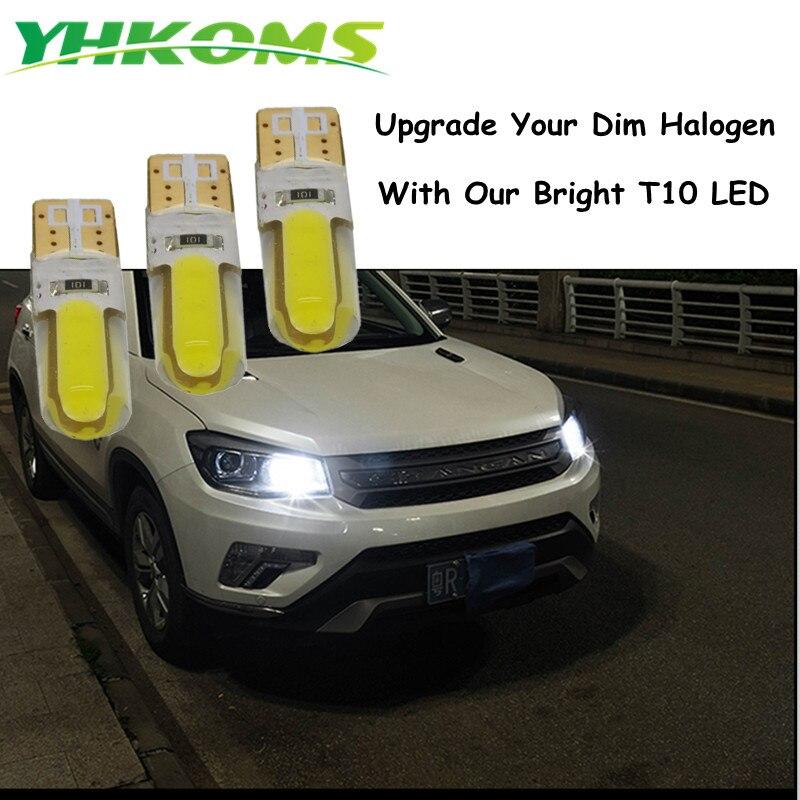 YHKOMS Т10 W5W и 194 светодиодные LED номерной знак света cob светодиодный маркер свет лампы 12 В 6000 к авто лампы лампа для чтения