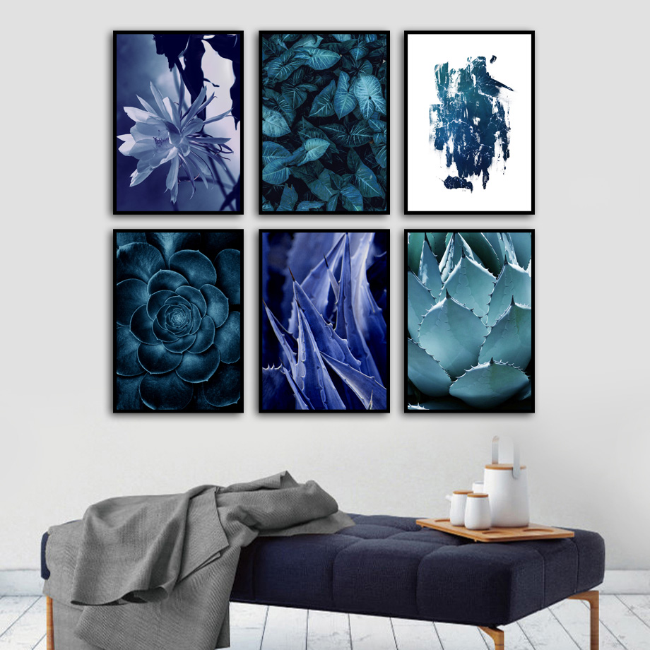 Tropical Plant Blue Aloe Leaves Wall Art Canvas Painting Nordic Posters And Prints Landscape Pictures For Living Room Decor