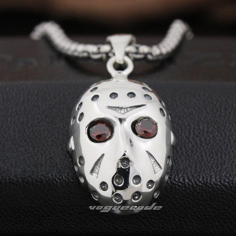 Argent 925 Jason Halloween masque Hockey hommes Biker pendentif 8N026 ( collier 24 polegada )