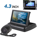 Hot Car Monitor Mirror 4.3 Inch 2-channel Input Car Rear View Monitor + Waterproof 420 TVL 18mm Lens Reverse Parking Camera