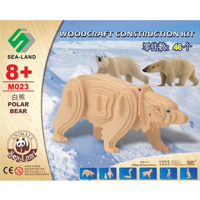3D En Bois Jouets Pour Enfants Ours Polaire Animal Puzzles Montessori Jouet Amusant de Haute Qualité Bois Éducatifs Puzzle Jouets Cadeau Pour enfants
