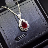 Fine Jewelry Pure 18 K Gold AU750 G18K Natural 100% Red Ruby 0.98ct Pendant Gold Diamond Pendant Gemstone Necklaces for Women