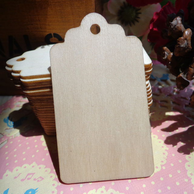 50pcs Nature Color Wood Gift Tags, Wooden Wedding Favor Tags, Price Label Party Hang Tags, Hemp String Included