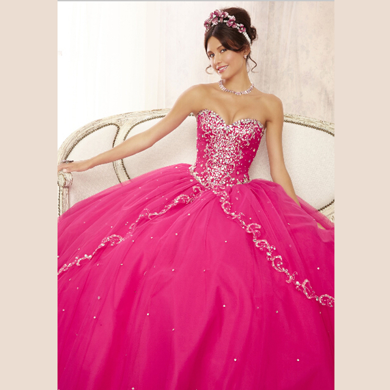 New Pageant Fuschia Quinceanera 15 years Layers Tulle Sweetheart Sparkling Beaded Party Ball Gown Prom   bridesmaid     Dresses