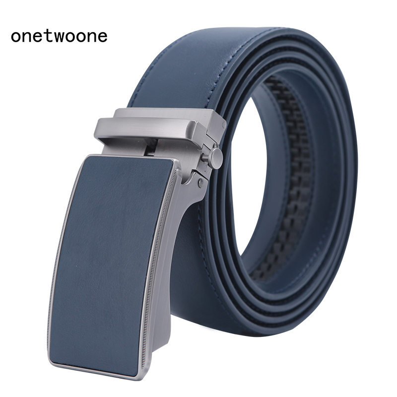 Famous Brand   Belt   Men Top Quality Genuine Luxury Leather   Belts   for Men Strap Male Metal Blue Leather Automatic Buckle   Belts   Men