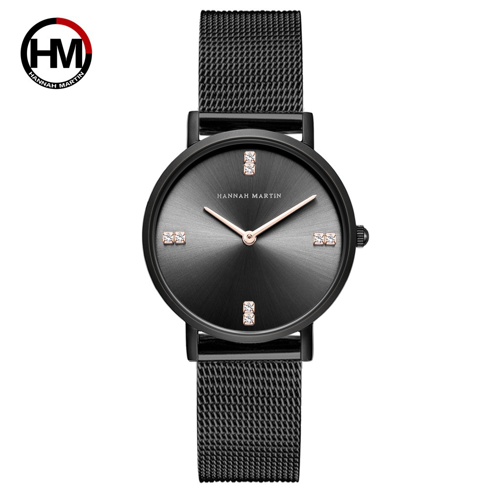 HANNAH MARTIN Brand Luxury Womens Watches Black Steel Mesh Starp Fashion Quartz Wristwatch Ladies Watch Relogio Feminino Crystal