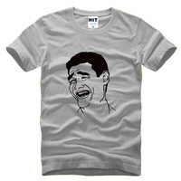 Yao Ming face avatar runaway cartoon Printed Mens Men T Shirt Tshirt 2015 New Short Sleeve Cotton T-shirt Tee Camisetas Hombre