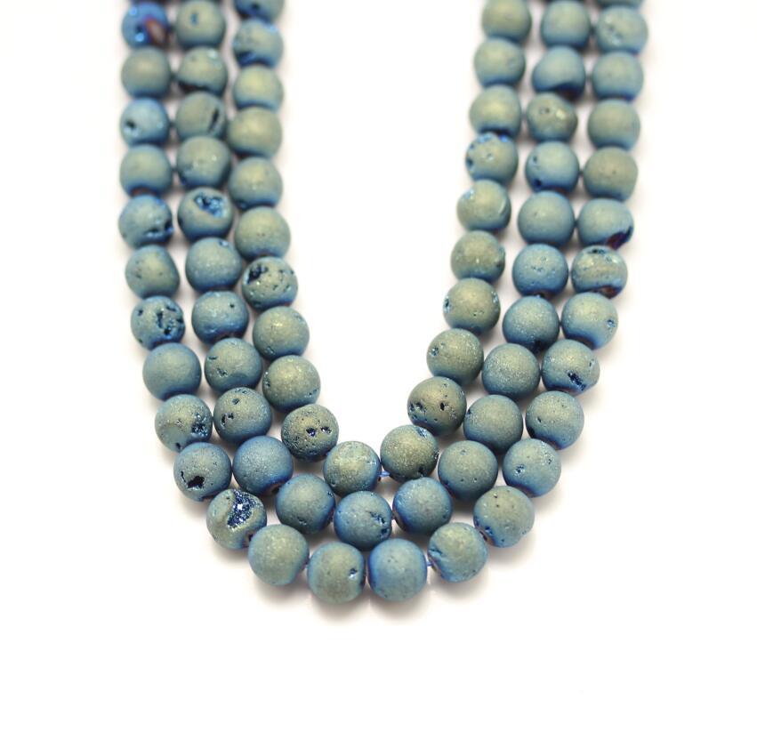 Полный 1 Strand синий зеленый агат Агаты свободные Бусины ювелирных изделий, гладкие круглые Drusy купля натуральный Камни Распорки браслет