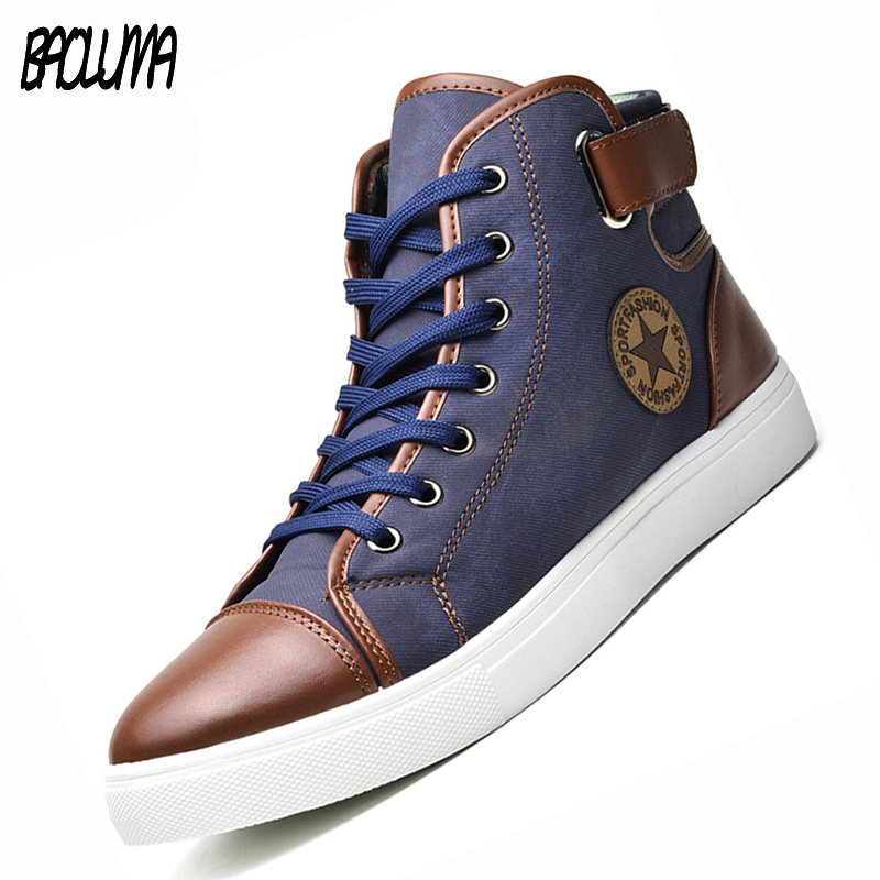 Mens Designer Trainers High Top Men Shoes Canvas Men Casual Shoes Autumn Winter Male Footwear Patchwork Plus Size 45 46 47
