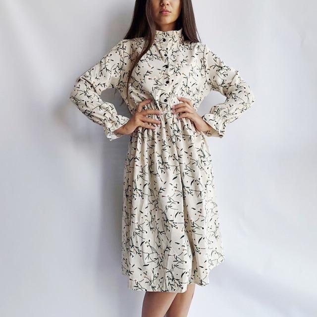 Corduroy Soft Floral Print Women Autumn Winter Dress Stand Collar Female Party Loose Dresses Elastic Waist Beach Vestidos