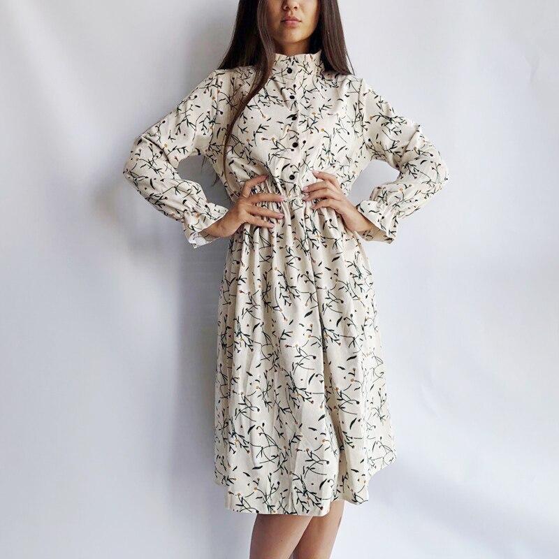 1275 50 De Descuentovestido De Pana Suave Con Estampado Floral Para Mujer Otoño Invierno Vestido De Cuello Alto Para Fiesta Femenina Vestidos