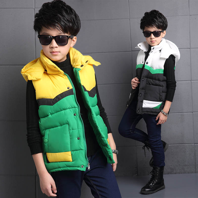 Toddler Boys Hooded Jackets 2018 Fashion Teenager Sleeveless Kids Autumn Winter Coats Cotton Vest Parkas Kids Clothes 10 12 14 mint green casual sleeveless hooded top