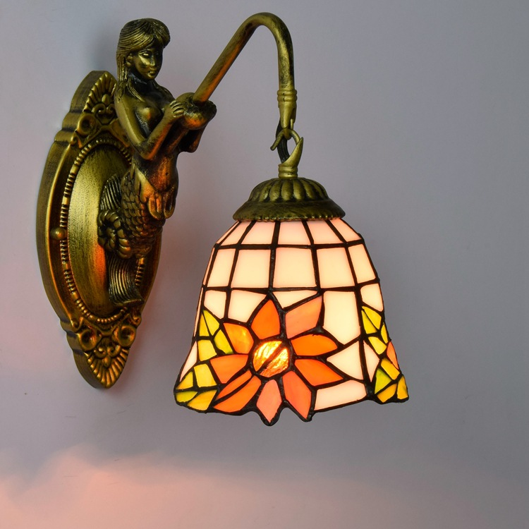 Tiffany Baroque sunflower Stained Glass Iron Mermaid wall lamp indoor  bedside lamps wall lights for home AC 110V/220V E27 novelty led wall lamps glass ball wall lights for home decor e27 ac220v