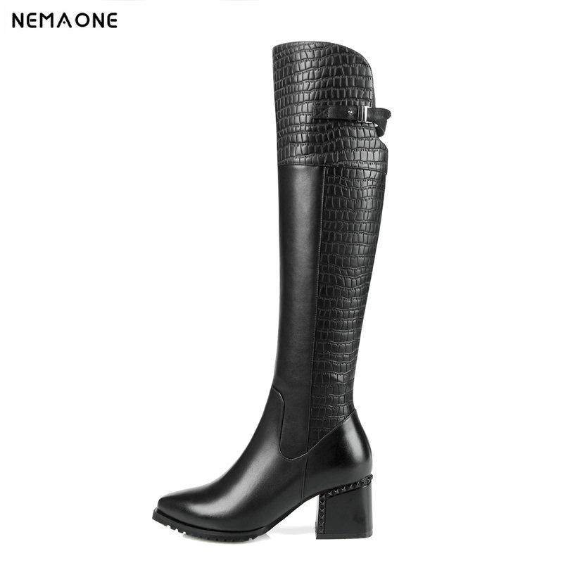все цены на NemaoNe 2018 New Genuine Leather Womens Knee High Equestrian Riding Boots Buckle Pointed Toe Long Boots Chunky Heel Winter Shoes