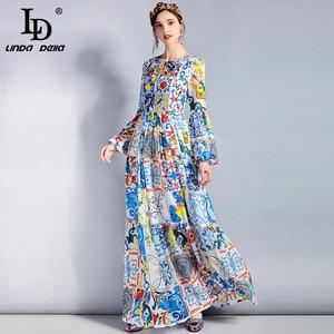 Image 2 - LD LINDA DELLA Fashion Designer Maxi Dress 5XL Plus size Womens Long Sleeve Boho Colorful Flower Print Casual Long Dress
