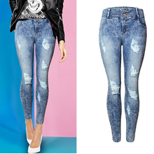 2017 Women Hole Skinny Jeans Famale Slim Washed Ripped Bleached Pencil Jeans Ladies Scratched Mid Waist Pants Trousers WJNAM058