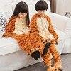 Cute Tiger Animal Pajamas One Piece Cosplay Costumes Unisex Kids Boys Girls Children Flannel Sleep Tops
