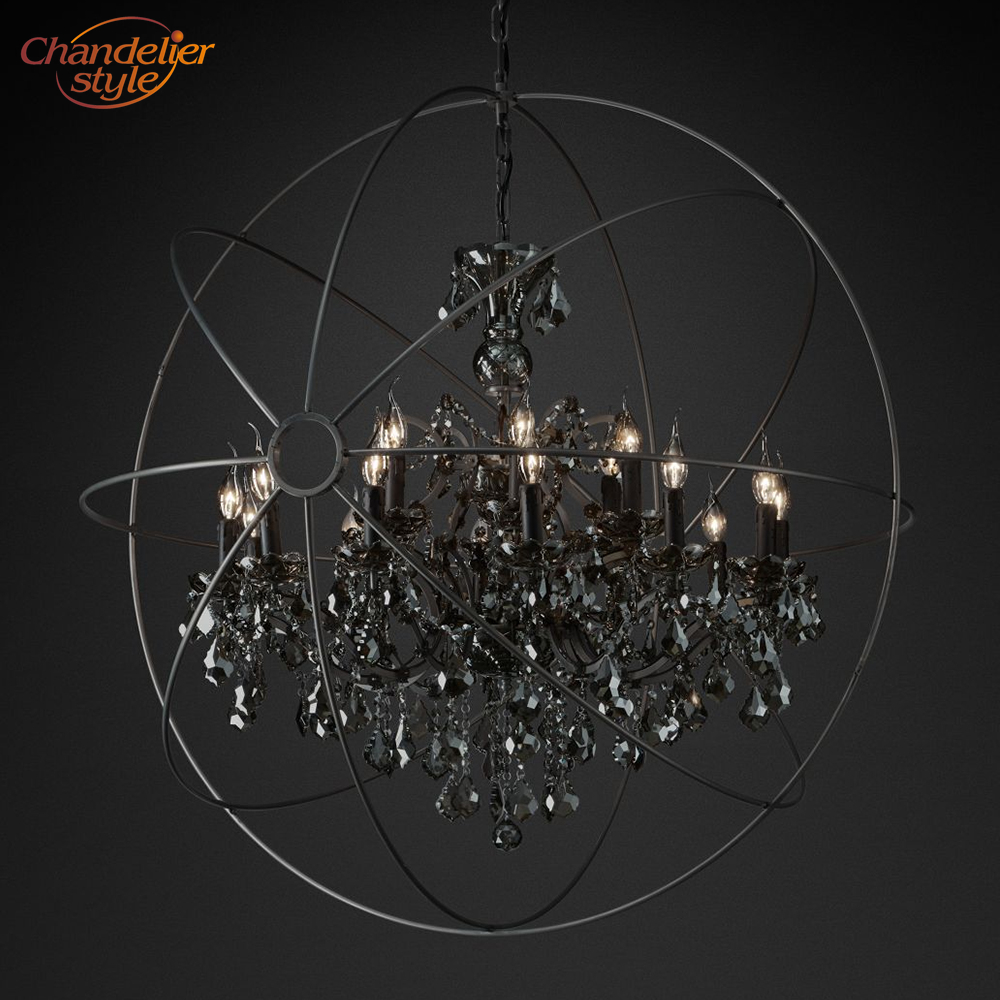 Image 5 - Foucaults Orb Smoke Crystal Chandelier Lighting Rustic Candle Chandeliers Lamp LED Pendant Hanging Light Hotel Chandelier Light-in Chandeliers from Lights & Lighting