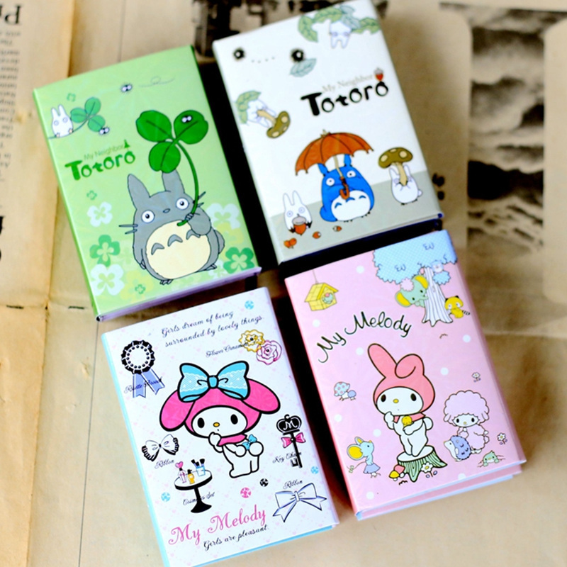 4 pcs/Lot Totoro memo pad My melody sticky notes Folding post Stationery office accessories School supplies 200 sheets 2 boxes 2 sets vintage kraft paper cards notes filofax memo pads office supplies school office stationery papelaria