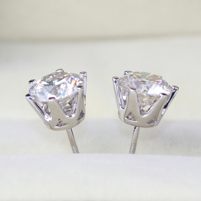 18K 750 White Gold 4CT Lab Grown Diamond Earrings