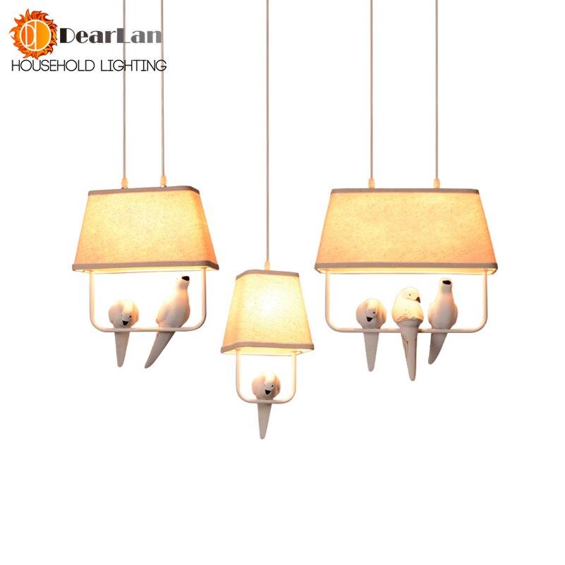 Belle Oiseaux Individuels Pendentif Lumières Vintage Résine Oiseau Tissu Abat-Jour LED Pendentif Lampes Pour Cuisine Salle À Manger (DZ-50)