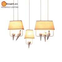 Lovely Individual Birds Pendant Lights Vintage Resin Bird Fabric Lampshade LED Pendant Lamps For Kitchen Dining
